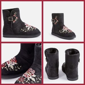 JustFab Shoes - Size 7 Boots Fuzzie Gray w/Embroidery NEW $59.95